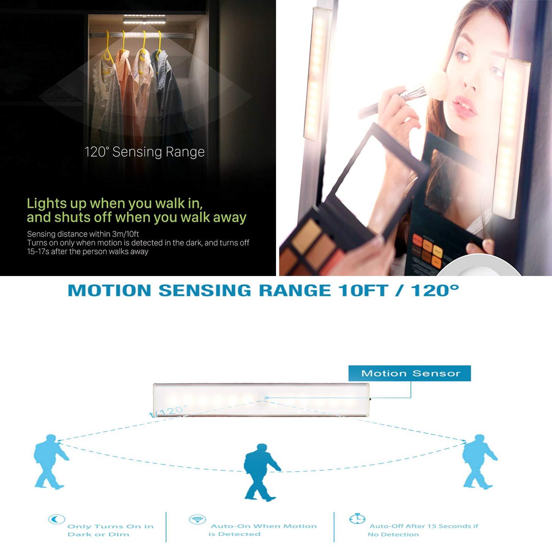 Id/éal pour Placard Lampe de Placard Armoire Capteur Mouvement et Luminosit/é Paquet de 2, Blanc Chaud Penderie BOENFU 12 LED Lampe Salle de Bain avec D/étecteur de Mouvement Rechargeable par USB