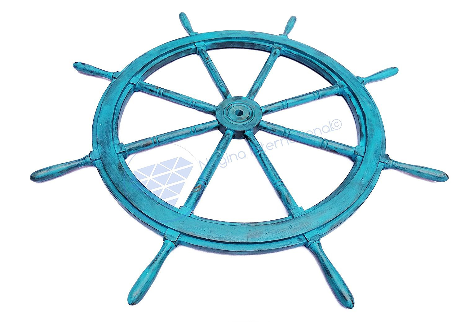 Fresh Water Blue Vintage Teal Hand Crafted Nautical Ship Wheel - Wood Hub Motiff - Pirate's Large Steering - Nagina International (60 Inches)