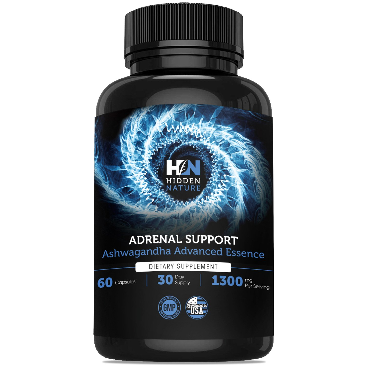 Adrenal Support & Cortisol Manager, 1300 mg, Best Adrenal Fatigue Supplement with Ashwagandha Rhodiola Rosea, Licorice Root Providing Anxiety Relief, Calm & Adrenal Health