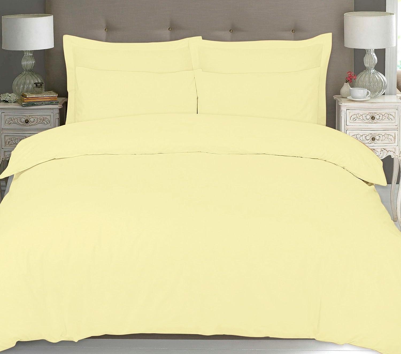 Linen Zone 100% Pure Natural Egyptian Cotton 200 Thread Count Duvet Cover Set Duvet Quilt Cover Pillow Cases (Double, Mocha)