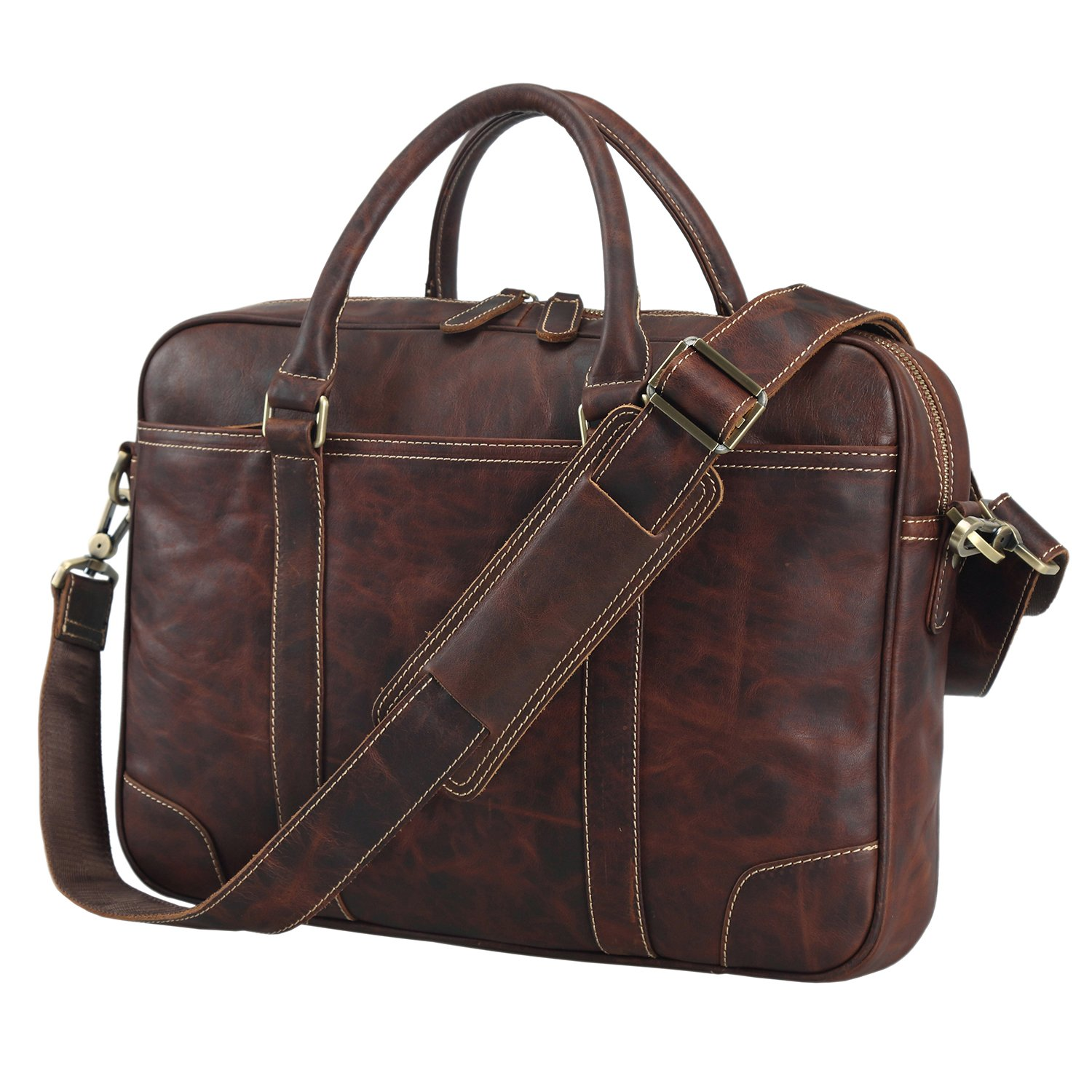 Polare 15.6'' Retro Full Grain Leather Laptop Messenger Bag Office Briefcase by Polare