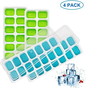 4 Pack Silicone Ice Cube Trays with Lid, Easy-Release Ice Cube Molds, 56 Cavities Small Square Ice Tray BPA Free Nontoxic and Safe, Stackable Durable and Dishwasher Safe(2 Blue & 2 Green)