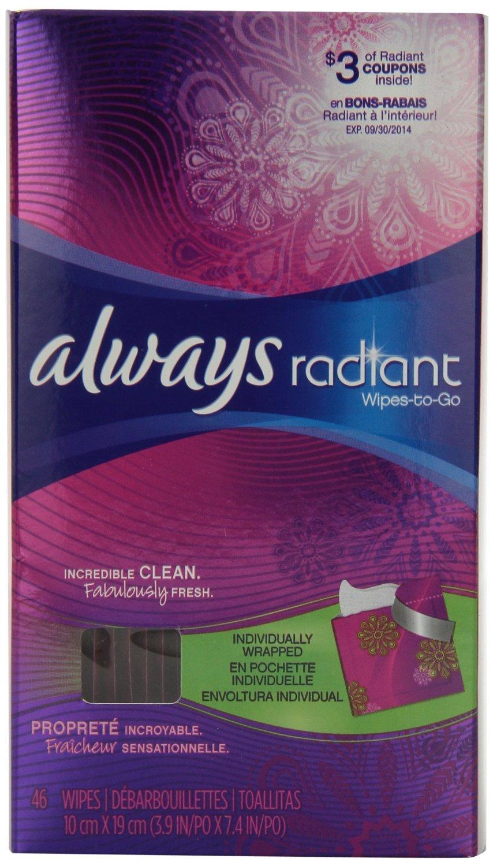 Always Radiant Feminine Wipes-To-Go, 46 Count