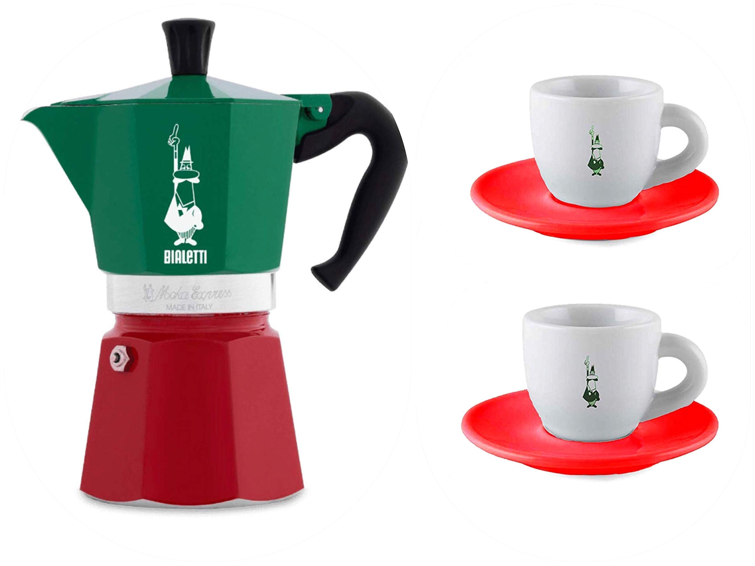 Bialetti 3-Cup Moka Express Italy Flag(Tricolor) Gift Set (2 Espresso Cups/Saucers Included) Limited Edition