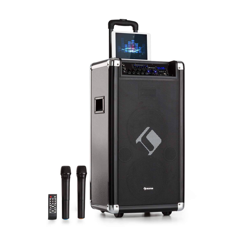 Auna Moving 120 Sono • 2x8 (20cm) Woofer • 60W Puissance nominale • 200W Max Puissance de crête • XMR-Bass-Technology • Micro VHF • USB • SD • Bluetooth • AUX • Mobile • Batterie intégr&ea