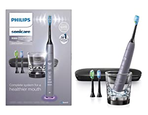 Philips Sonicare DiamondClean Smart 9300 Electric Rechargeable Power Toothbrush, For Complete Oral Care, includes 3 brush heads, glass charger and travel case, Grey