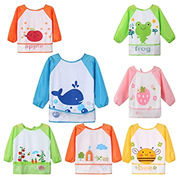 long sleeved bibs Babies toddlers bib coverall apron Boys Girls Waterproof UK