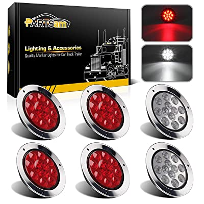 "Partsam 4 Red + 2 White 4"" Round Led Stop Turn Tail Back-up Reverse Fog Lights Include Lights Flange Mount 12 LED for Truck Trailer RV: Automotive"