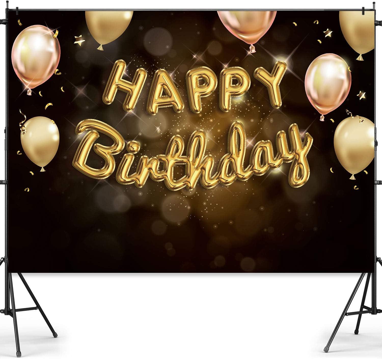 Happy 30th 40th 50th 60th Birthday tel/ón de fondo negro dorado decoraci/ón para hombres mujeres beb/é fiesta de cumplea/ños fondo estudio fotogr/áfico cabina ni/ños pastel mesa Banner