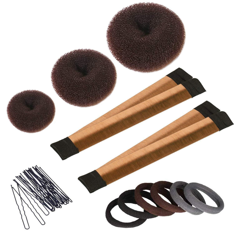 Hair Bun Maker Set, 3 Pieces Donut Bun Maker, 2 Pieces Instant Hair Snap Bun Maker, 20 Pieces Hair Bobby Pins, Hair Bun Styling Kit for Girls Women, Brown