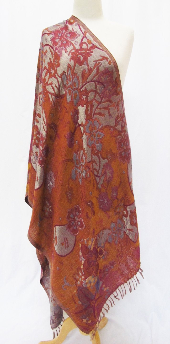 ''Misty Floral'' Silk Merino Wool Shawl Stole Scarf Wrap Purple Copper by Ashiana (Image #5)
