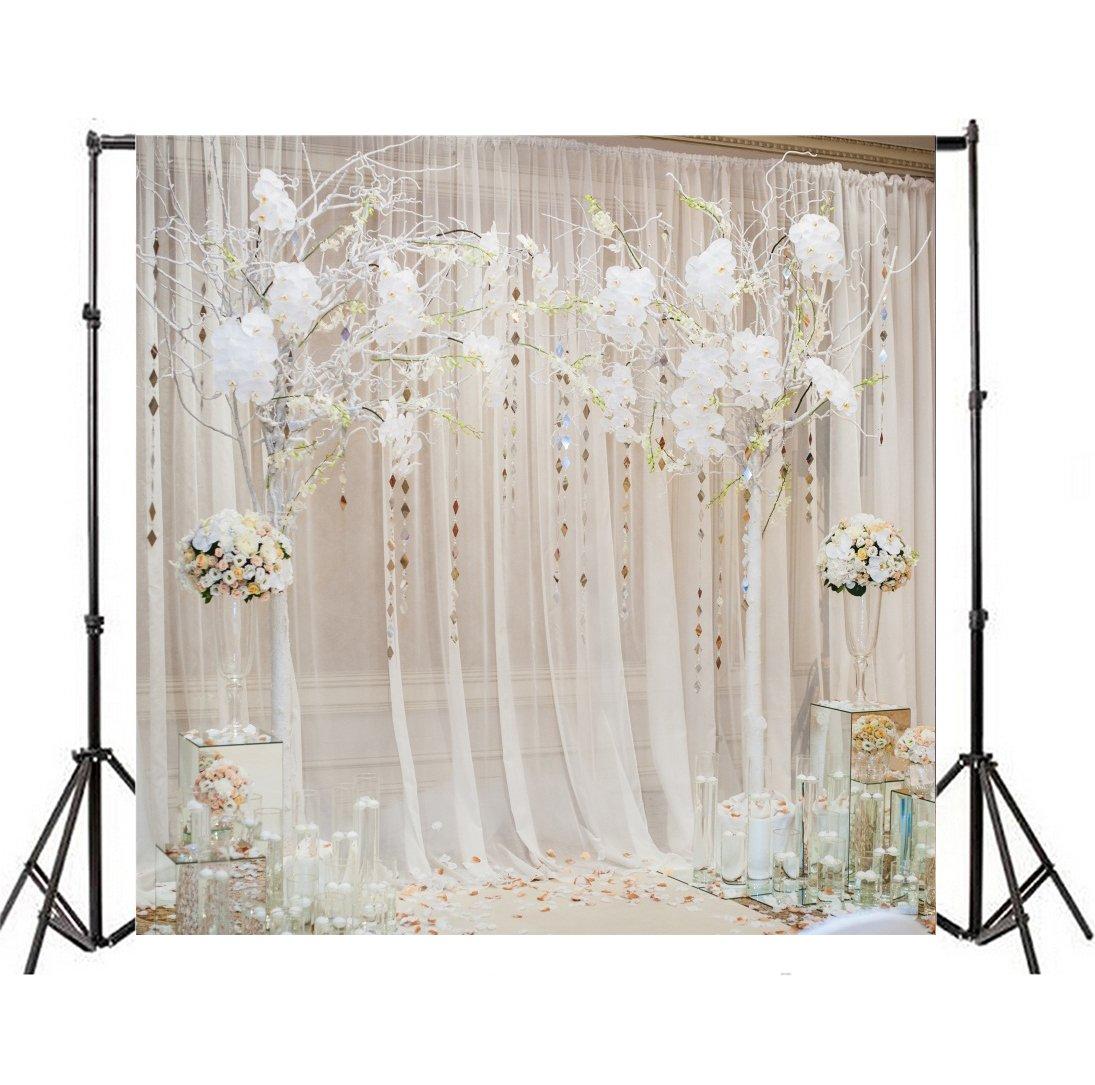 leyiyi 4 x 4ft写真背景結婚式ステージバックドロップホワイトMuslinカーテンスパンコール装飾Flowerballsローズ花びら婚約パーティー写真PortraitビニールStudioビデオProp   B07F7QGKVT
