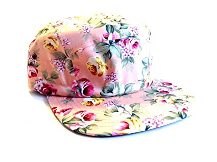c97fd65bed7 Amazon.com   New Pink Rose Floral Print 5 Panel Camper Hat Cap Adult ...
