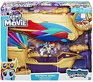 My Little Pony: The Movie - Rainbow Dash - Swashbuckler Pirate Airship - Includes Vehicle, Rainbow Dash Figure and 12 Accessories - Allow Your Child To Fly Away On Pirate Adventures