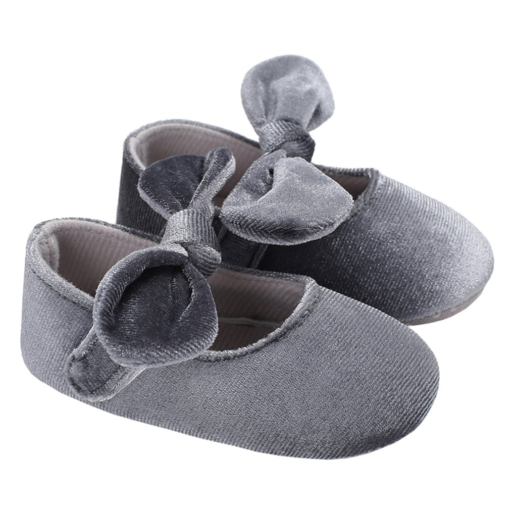 lakiolins Baby Girls Suede Mary Jane with Bowknot Wedding Princess Dress Shoes Crib Shoes Grey Size M