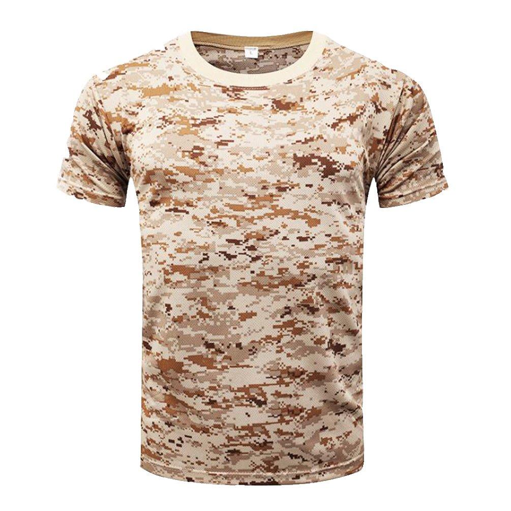 Hombre Verano Casual Camisetas Camufladas Tecnicas Manga Corta Secado R/ápido Aire Libre Remeras Dry Fit Transpirables T Shirt Training Top