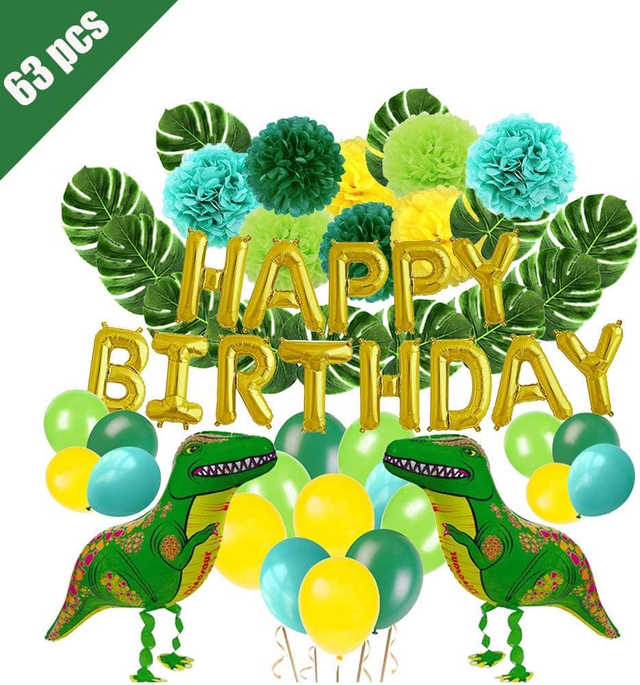 Lehoo Castle Decoracion de Cumpleaños Dinosaurios, 3D Globos de Cumpleaños Dinosaurios, 63 Piezas Decoracion de Fiestas Dinosaurios, Happy Birthday Banner, Cumpleaños Dinosaurios para Niño
