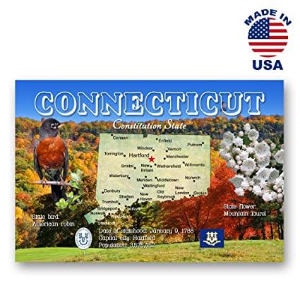 CONNECTICUT MAP postcard set of 20 identical postcards  CT state map post  cards  Made in USA