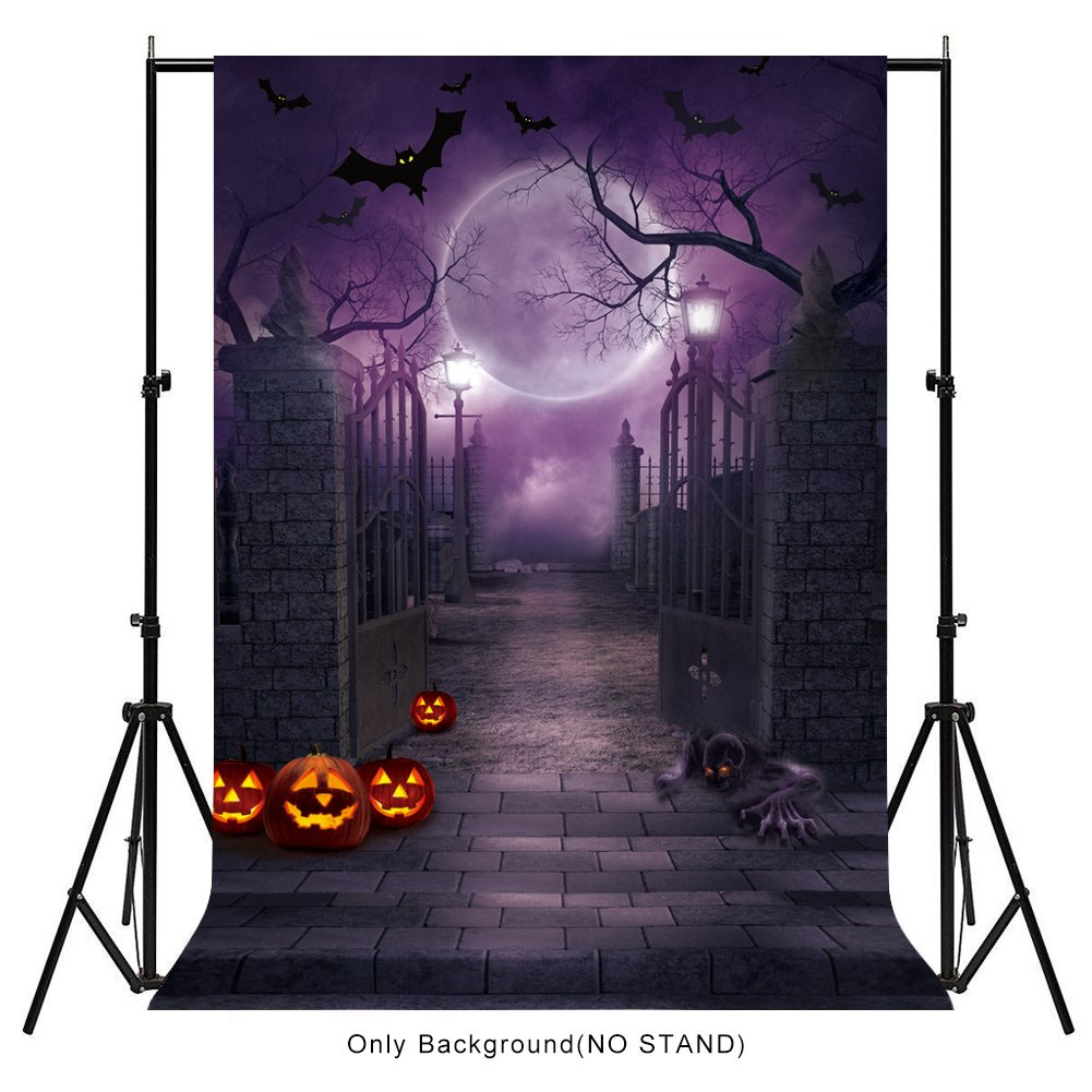 Aytai 5x7ft Halloween Backdrops Halloween Photo Cloth for Halloween Decoration, Haunted House Moonlight Pumpkin Bat Background for Photography, Halloween Party Supplies by Aytai