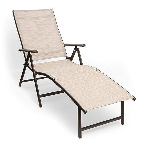 Kozyard Cozy Aluminum Beach Yard Pool Folding Reclining Adjustable Chaise Lounge Chair 1, Beige
