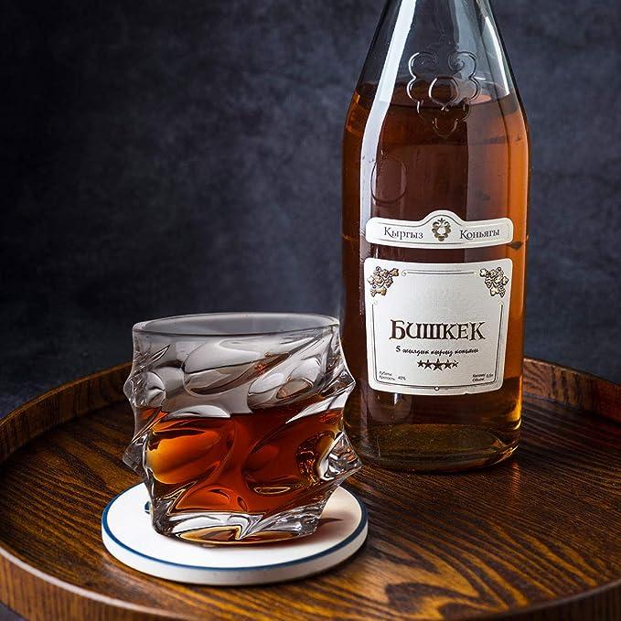 jiabang Juego de 4 Vasos de Whisky de Cristal (300 ml/10 oz) sin Plomo de Estilo Antiguo, Vasos de Cristal para Beber Bourbon, cócteles, Whisky, ...