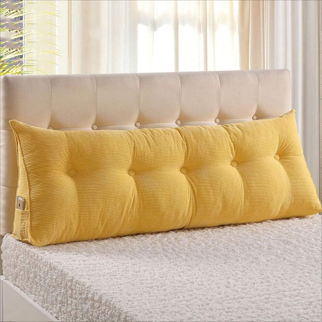 CUNFU HOME Dreieck Kissen Bett Kopf Kissen Sofa weiche Tasche Kissen Doppelbett große Rückenlehne, Dicke 22 cm, 10 Farben, 6 Größen (Farbe   Gelb, größe   200 x 22 x 50 cm)