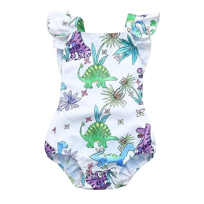 Amazon.com: Bebé niña dinosaurio Floral Pelele overol Animal ...