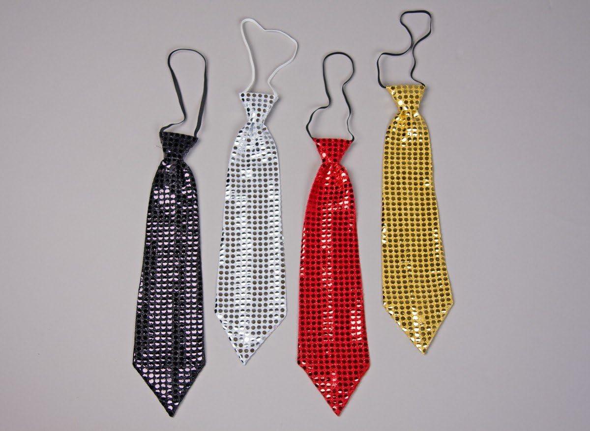 Corbata de lentejuelas, de color rojo: Amazon.es: Juguetes y juegos