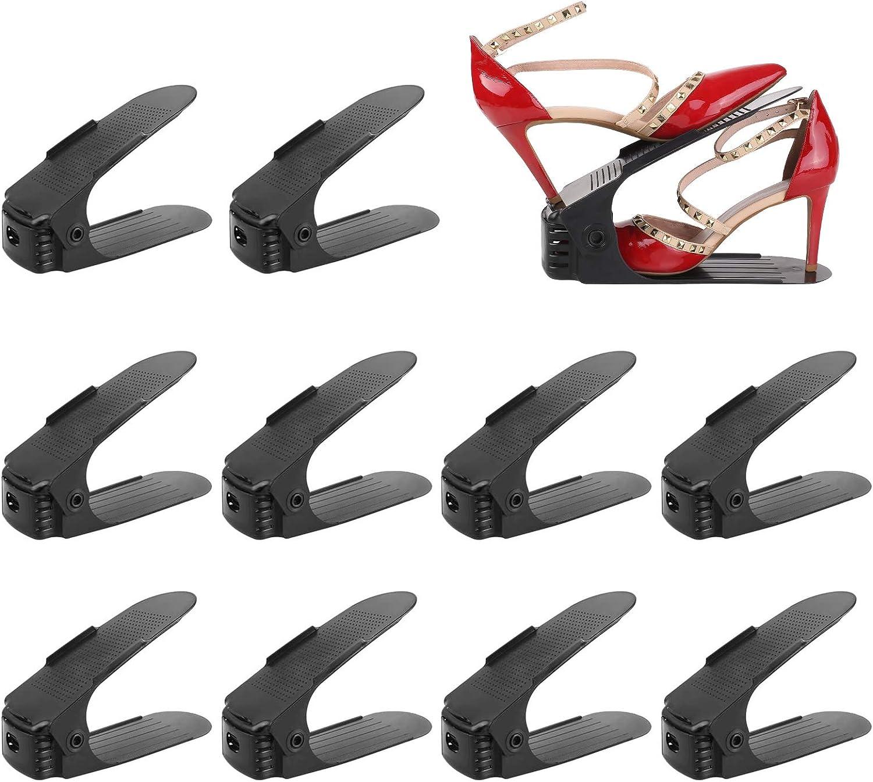 Femor Set de 10pcs Organizadores de Zapatos, Soporte de Calzado de Altura Ajustable, Zapatero Simple, Adecuada para Mujeres y Hombres, Ahorra Espacio (Negro)