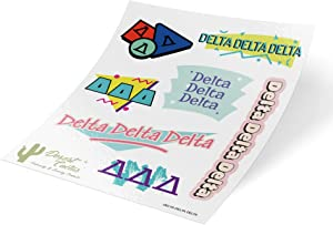 Delta Delta Delta Themed Sticker Decal Laptop Water Bottle Car tri Delta (Full Sheet - 90's)