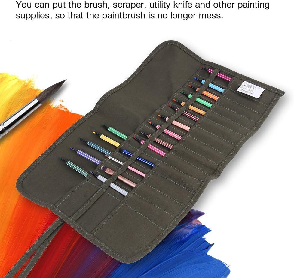 Paint Brush Holder Organizer 30 Slots Roll Up Canvas Paint Brush Bag Artist Draw Pen Watercolor Oil Brushes Case
