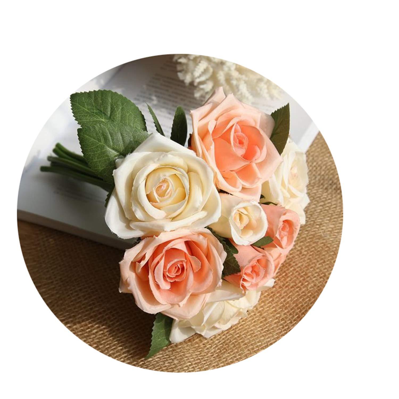 シルク造花 バラの花束 ミニ レッド ローズ ホワイト 牡丹 結婚式 ブライダル ホームパーティー クリスマスデコレーション フェイクフラワー NA B07QG8ZZJR オレンジ ホワイト