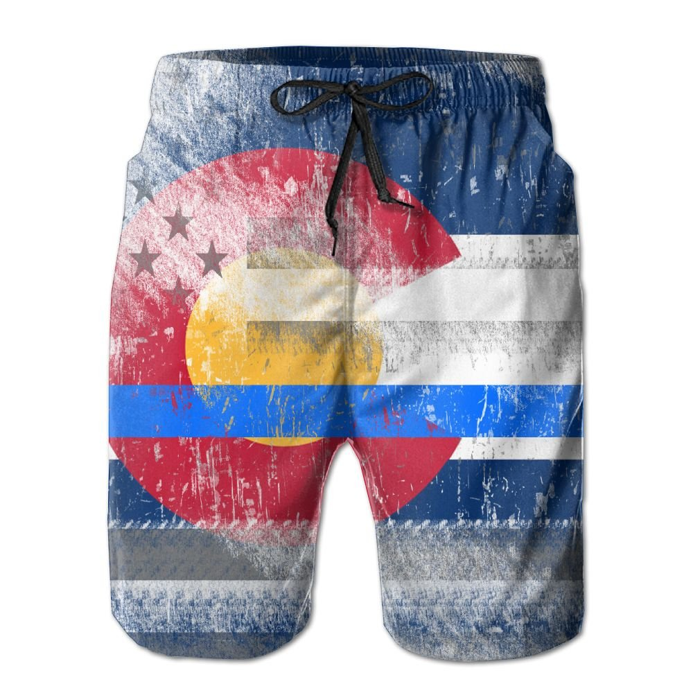 Men Colorado Thin Blue Line Flag Quickly Drying Lightweight Fashion Board Shorts Swim Trunks XL by COOA