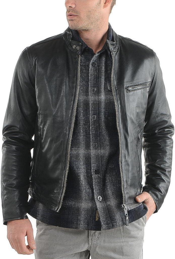 Kingdom Leather Mens Cowhide Real Leather Jacket Black KC056