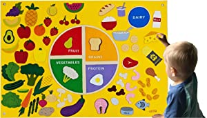 MyPlate Felt Flannel Board My Healthy Nutrition Plate Deluxe Set Giant 3.5 Ft Wall Hanging Interactive Play Kit Montessori Educational Teacher Aide