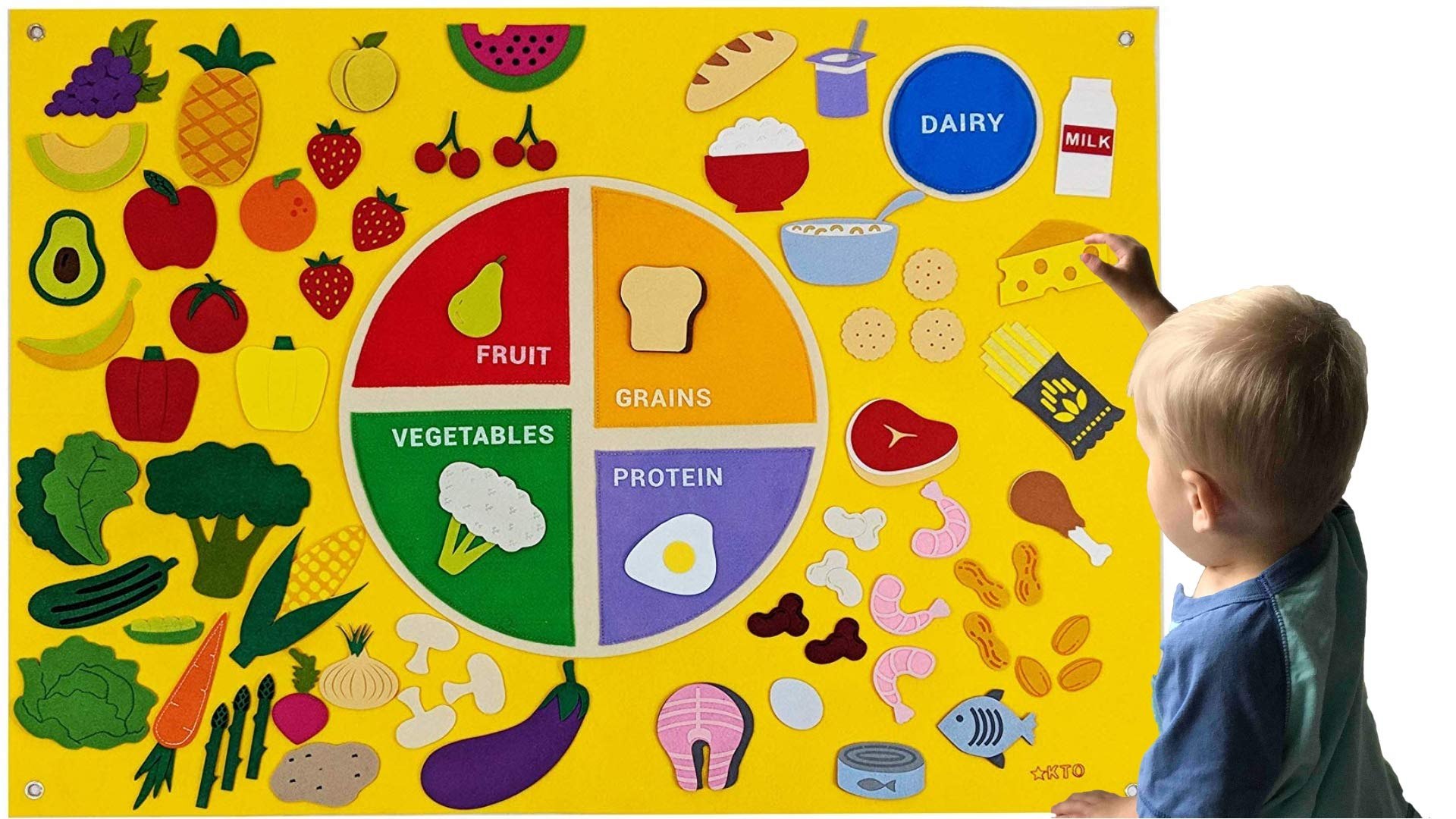 MyPlate Felt Flannel Board My Healthy Nutrition Plate Deluxe Set Giant 3.5 Ft Wall Hanging Interactive Play Kit Montessori Educational Teacher Aide by KTO