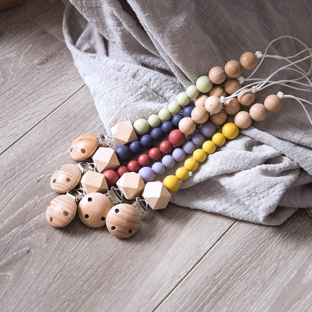 Handmade Pacifier Clip for Baby Teething,Silicone and Wood Beads 2-in-1 Holder for Newborn Mustard Yellow
