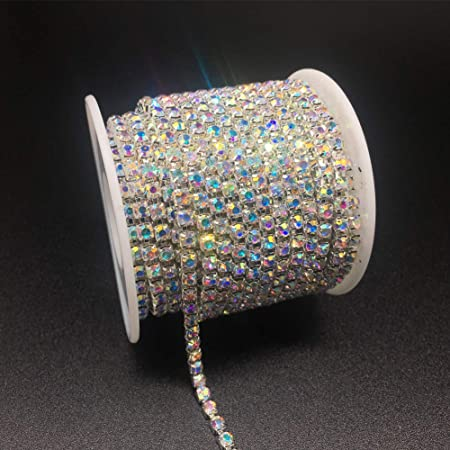 Cake #1 Clothing Rhinestones Chain 10 Yards SS6//2mm Crystal Glass Trimming Claw Chain for Mobile Phone Vase Sewing Jewelry