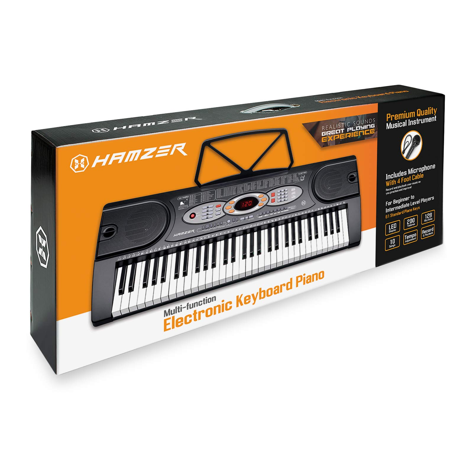Hamzer 61-Key Electronic Keyboard Portable Digital Music Piano with H Stand, Stool, Headphones Microphone, Sticker Set by Hamzer (Image #8)