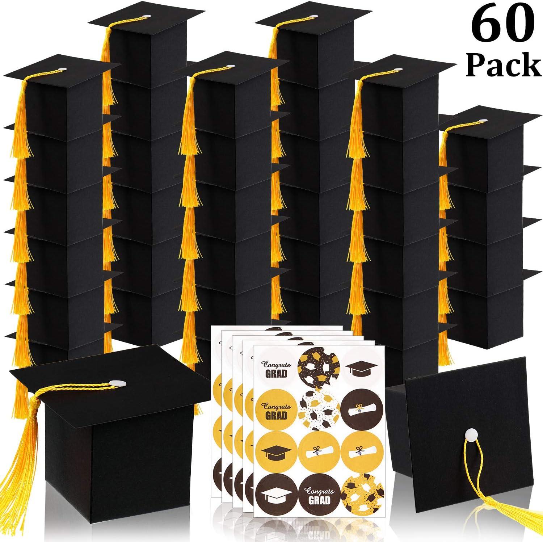 60 Piezas Cajas de Dulces de Graduación Caja de Regalo en Sombrero de Graduación Gorro Doctorado Caja de Chocolates Negra con Borla Amarilla para Fiesta de Ceremonia de 2020 Graduación: Amazon.es: Bricolaje