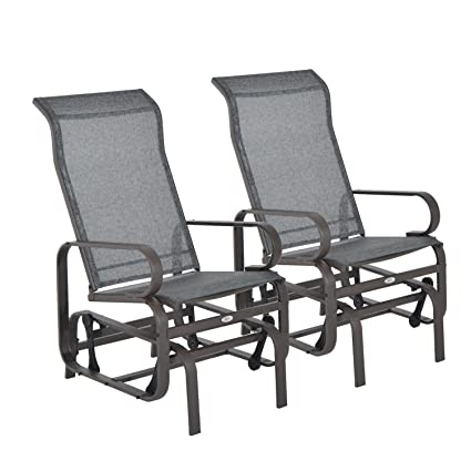 Phenomenal Outsunny Set Of 2 Outdoor Patio Glider Rocking Chair Fabric Metal Mesh Brown Machost Co Dining Chair Design Ideas Machostcouk