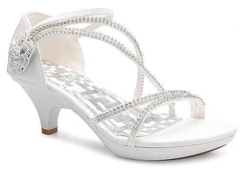 Strappy Shoes Toe Olivia Wedding Open Rhinestone Sandal Heel Women's Low K Dress N8nX0wOPk