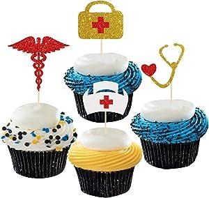 Dill-Dall Multicolor Glitter Doctor/Nurse Grad Cupcake Toppers - Medicine Graduation Cupcake Toppers, Graduation Party Decorations, DR/RN Graduation Cupcake Decor (24 Pcs)