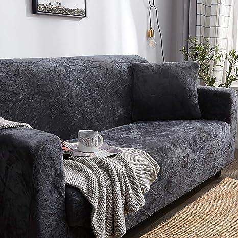 D&LE Felpa Gruesas Funda de sofá, 1 2 3 4 Plazas Color Puro ...
