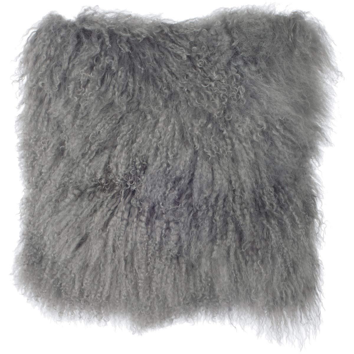 Grey 16 x 16 SLPR Home Collection Mongolian Lamb Fur Pillow Cover, 20 x 20, Natural