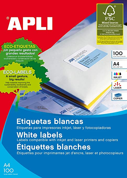 Amazon.com: Apli 2416 Pack 100 Sheets Multi-Use Labels 63.5 ...