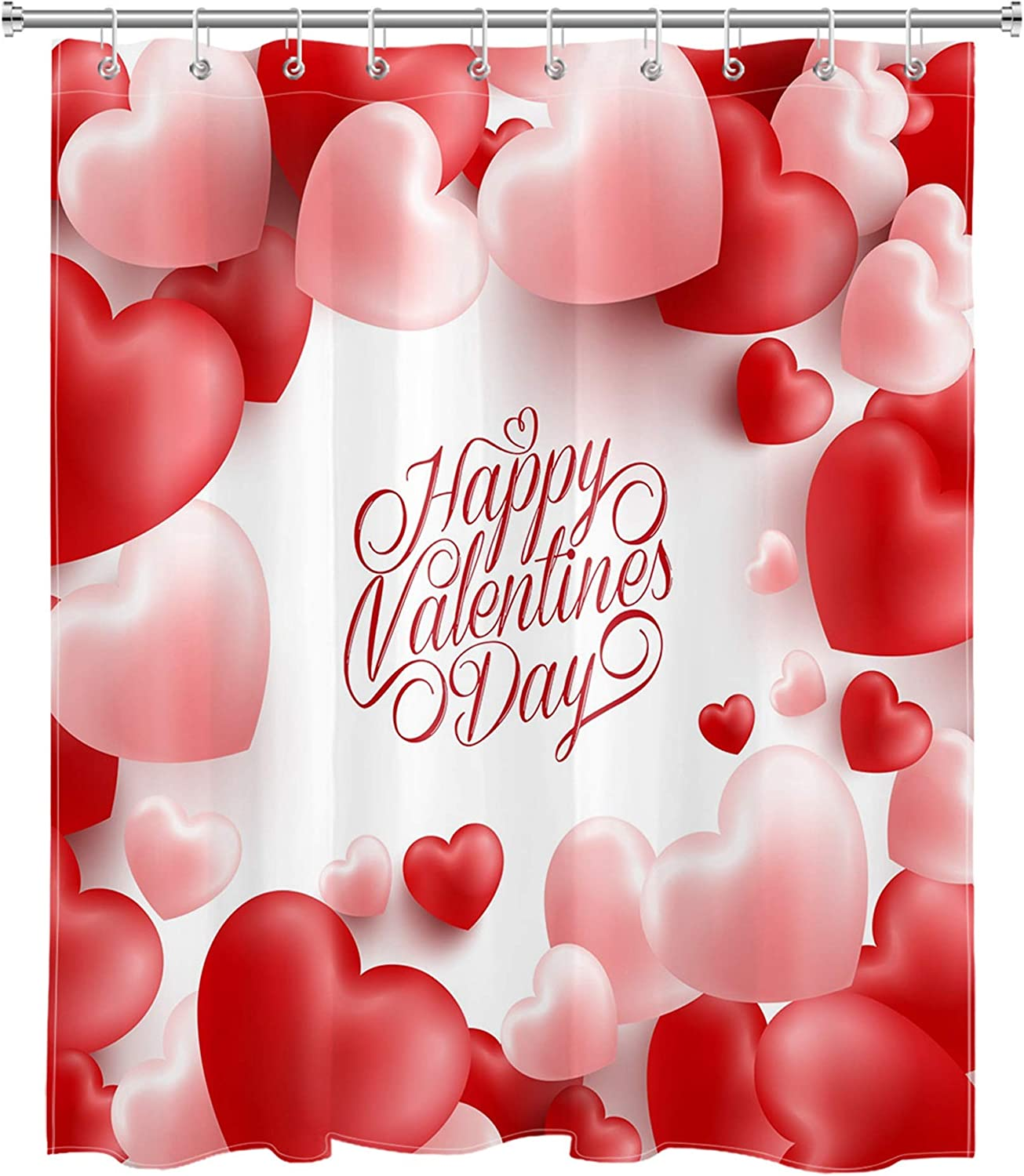 NYMB Happy Valentines Day Shower Curtain Pink Heart Shaped Air Balloons on