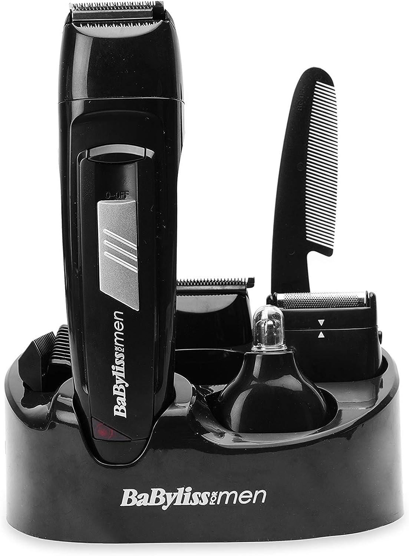 BaByliss E824E - Kit cortapelos con 8 funciones, cuchillas de acero inoxidable, uso sin cable, color negro