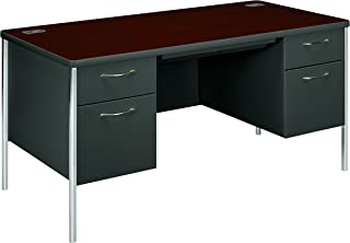 product image for HON 88251RNS Mentor Series 48-Inch by 30-Inch by 29-1/2-Inch Single Pedestal Desk, Mahogany/Charcoal