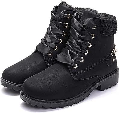 Botas Nieve Mujer Invierno Calentar Piel Forro Botines Retro Snow Boots Cordones Zapatillas Planas Ankle Boots Negro Caqui Gris Rosa 36-43